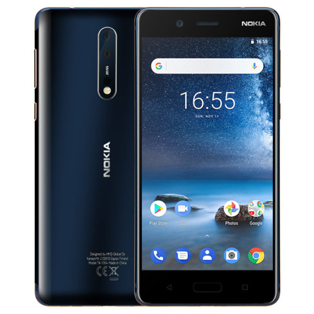 NOKIA 8 TA-1004 6 gb RAM 128 gb ROM Snapdragon 835 2.5 ghz Octa Core 5.3 pouce 2 k Écran Double Caméra Android 7.1 4g LTE Smartphone