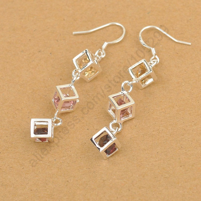 PATICO New Happiness Rubik Cube Jewelry Set Real Pure 925 Sterling Silver Jewelry Cubic Zirconia Bracelet Hook Earrings Sets