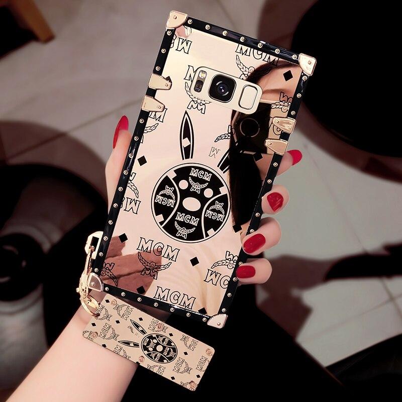 Lujo espejo teléfono funda para Samsung S8 más lujo suave de la cubierta del teléfono con la correa del teléfono para Samsung S8 más