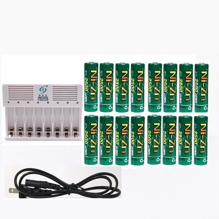 High Power 16Pcs1.6v aa 2500mWh rechargeable battery nizn Ni-Zn rechargeable battery + 8 slots aa aaa NiMH NiZn smart charger 4pcs nizn aa rechargeable batteries 2500mwh 1 6v 4pcs 900mwh aaa ni zn rechargeable battery 1pcs ni zn aa aaa battery charger