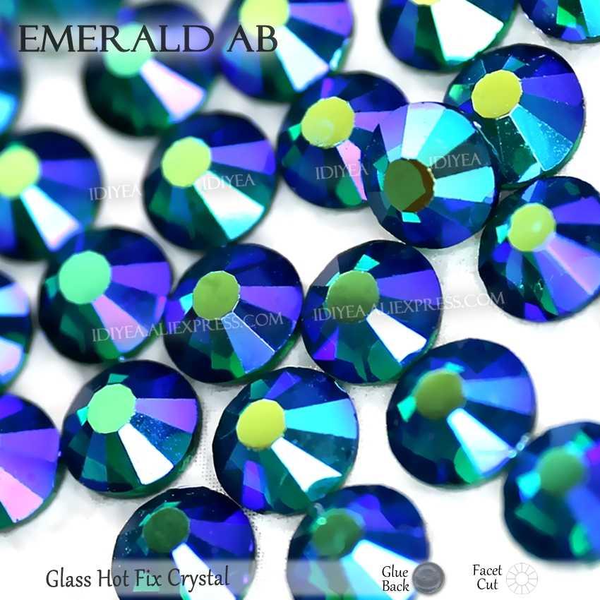 Zümrüt AB sıcak düzeltme flatback rhinestones elbise art glitters kristaller düzeltme strass taşlar giysi giysi köpüklü payetler