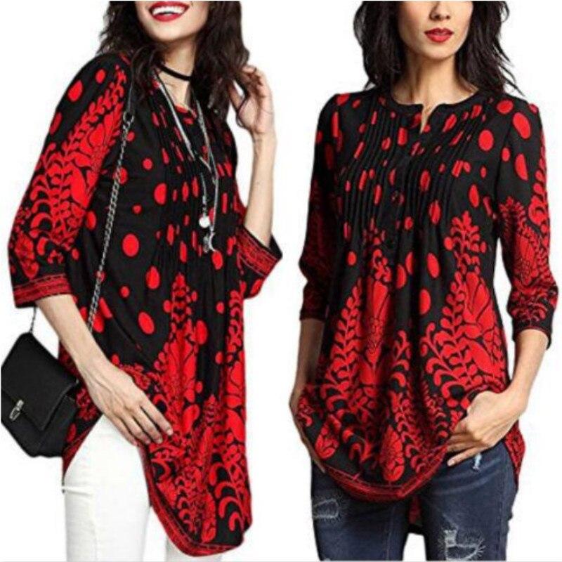 2018 Women's Fashion Casual Loose Long Sleeve Cotton   Blouse     Shirt   Tunic Tops Women Floral   Blouse