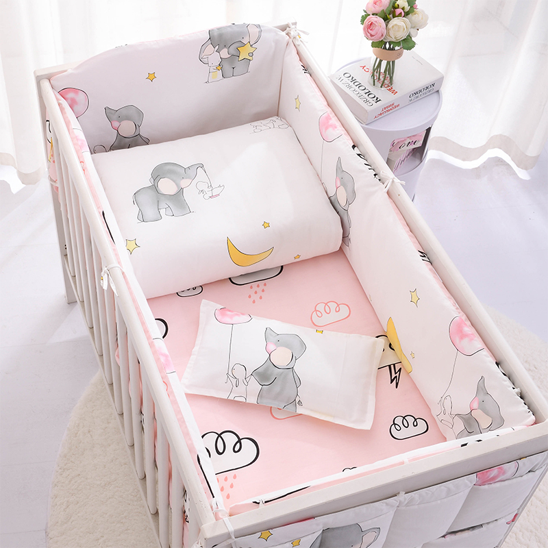 Baby Bedding Set Bumpers Cotton Pattern Baby Bed Set Crib Quilt Cover Pillowcase Bed Flat Sheet Crib Hanging Bag Infant Bedding