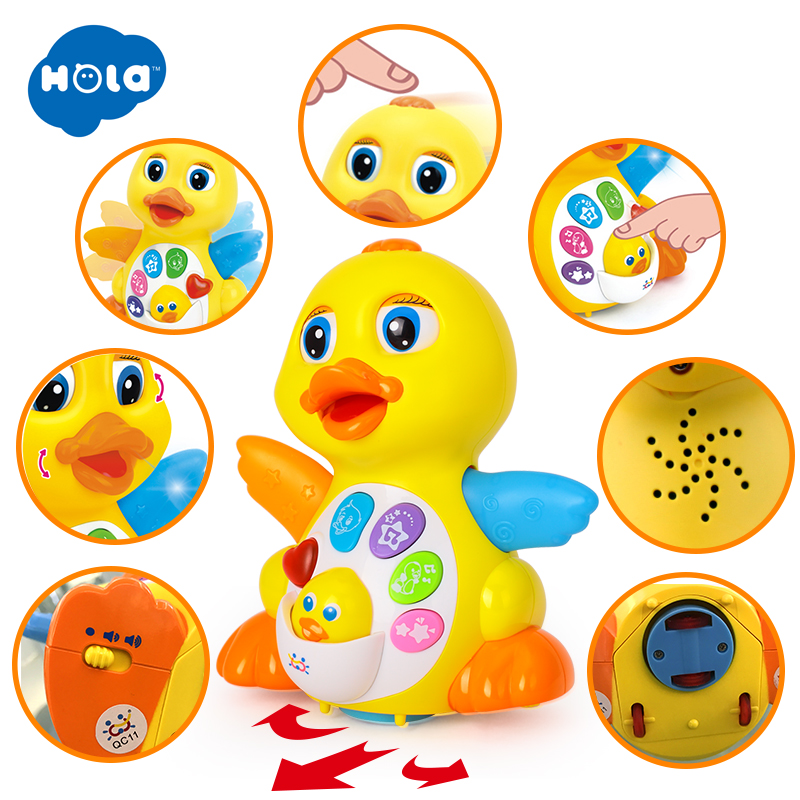 Free Shipping Huile Toys 808 EQ Flapping Yellow Duck child puzzle electric toy animal music adjustable mandoline slicer professional grater