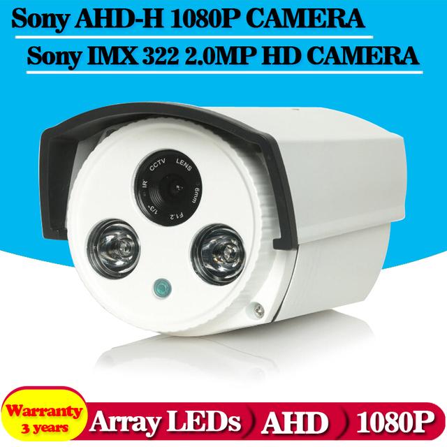Câmera de alta definição 2 pcs matriz leds ir 40 m distância 0.001lux menu osd sony imx322 + ahd 1080 p 2.0mp de metal à prova d' água câmera