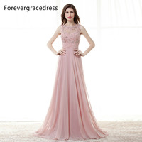 Forevergracedress High Quality Cheap Bridesmaid Dress New Arrival Long Open Back Chiffon Applique Wedding Party Dress