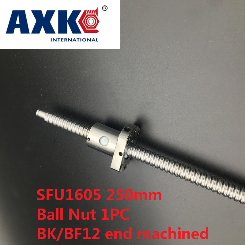 Axk Free Shipping Sfu1605 250mm Rm1605 250mm Rolled Ball Screw 1pc+1pc Ballnut + End Machining For Bk/bf12 Standard Processing 1pcssfu1605 1000mm rolled ball screw 1pcs ballnut end machining for bk bf12 standard processing