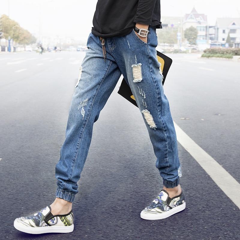 Uwback Men Fashion Jeans Pants Slim Drawstring Harem Denim Pant Stretch Elastic Casual Pants Hole Summer Cool Trousers 2XL XA621