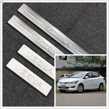 stainless steel door sill strip for HYUNDAI VERNA 2010 11-16 Exterior car-styling welcome pedal Scuff Plate cover Threshold Trim stainless steel sill strip for k ia k2 car styling exterior accessories window trim