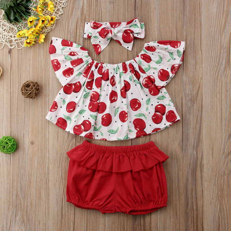 New Fashion Infant Baby Kids Girls Clothes Off Shoulder Cherry Print Outfits T-Shirt Tops+Shorts Pants 3pcs Set
