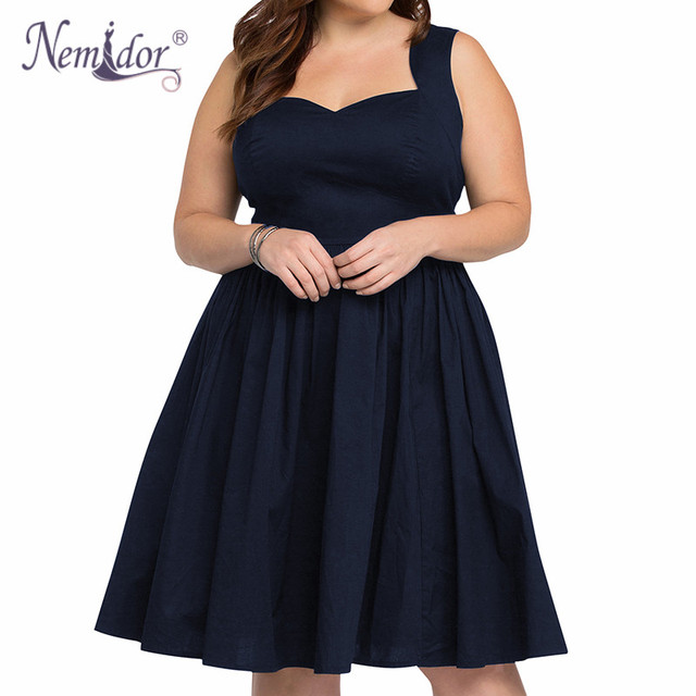 d542ea1576 US $23.99 |Nemidor Women 1950 Style Sexy Backless Vintage Swing Dress Sexy  Sleeveless Cocktail Party Stretchy A line Plus Size Dress-in Dresses from  ...