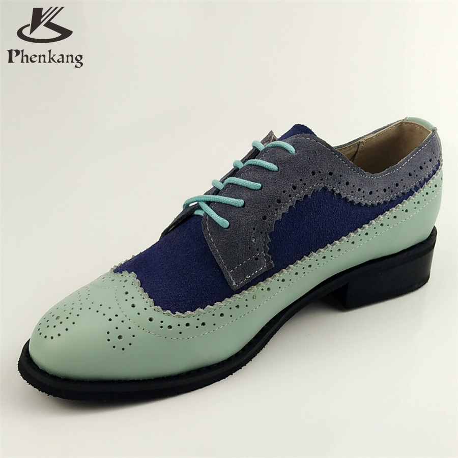 ФОТО Genuine leather shoes women US size 11 handmade blue grey 2017 sping vintage British style oxford shoes for women with fur