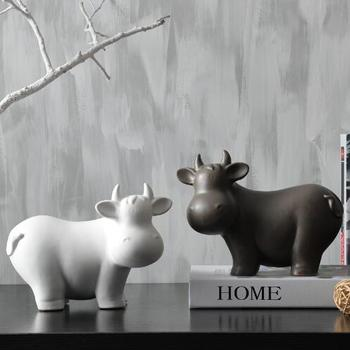 Minimalist Ceramic creative cow Bull home decor crafts room decoration handmade Cattle porcelain animal figurines decorations