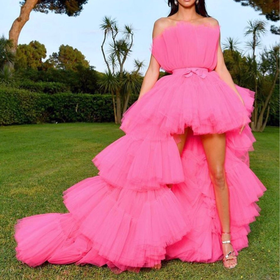 Hot Sale Hi Low   Prom     Dresses   with Detachable Train Tiered Tulle Train Puffy Short Fuchsia Short Evening   Dress   Off the Shoulder