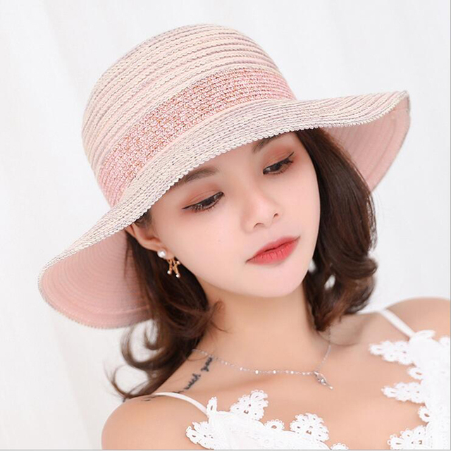 9a440781c7f Fashion Summer Hats for Women Outdoor Large Beach Straw Hat With Bowtie  2018 Newest Casual Woman s