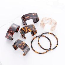 Fashion Tortoiseshell Cuff Acrylic Wide Bangles Bracelet For