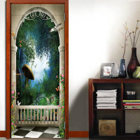 nm10 Strange Giant Mushroom Door Stickers Hallway Modern Ceiling Sticker Simulation Decorative Wall Stickers 2 pcs/set