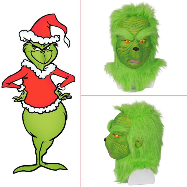 how the grinch stole christmas the grinch green mask helmet movie cosplay costume props halloween latex