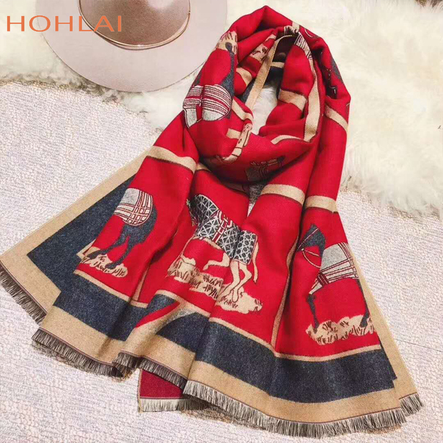 Luxury brand Winter New Carriage Scarf Warm Shawl Thicken Tassels Horse cashmere-like fashion show poncho cape womens pashmina 3