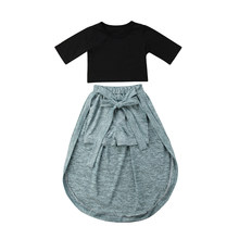 Toddler Kids Baby Girl Exposed Navel Tops Shorts Pants Dress Outfits Set Children's Clothes Summer 2019 Clothing(China)