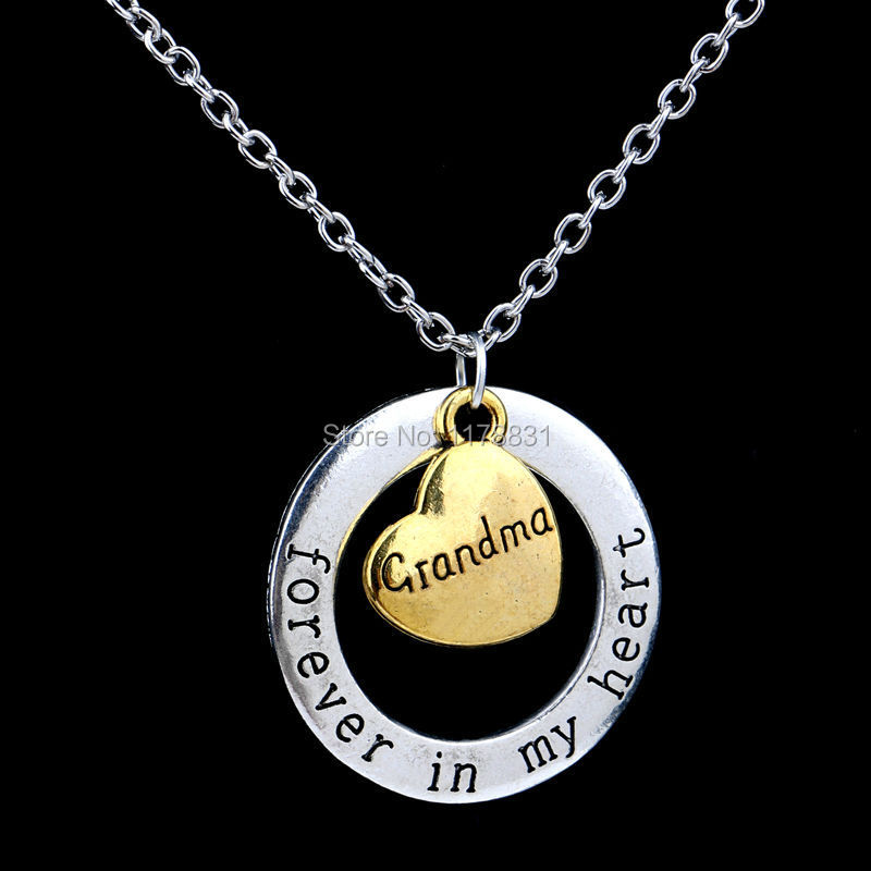 Xiaojingling necklace family member christmas gift grandma forever xiaojingling necklace family member christmas gift grandma forever in my heart vintage gold heart pendant jewelry for children in pendant necklaces from aloadofball Choice Image