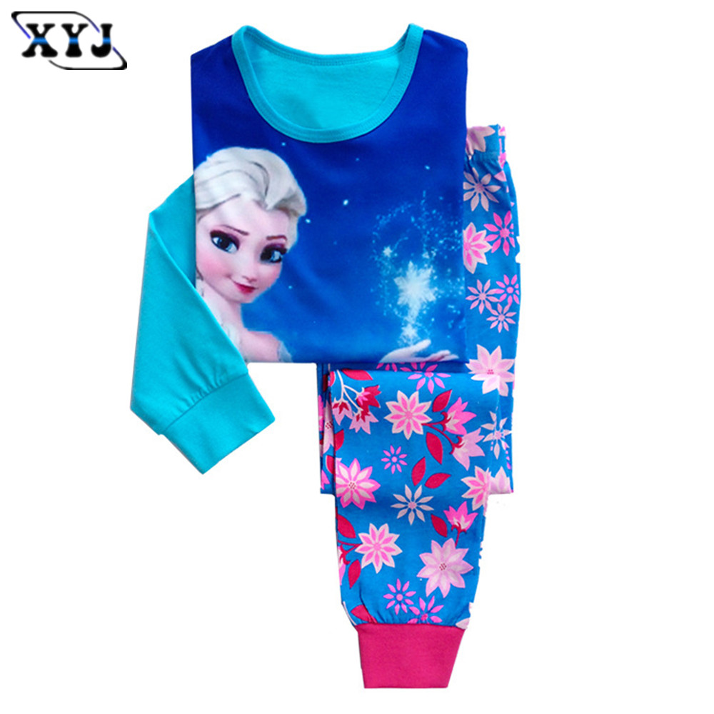 2016 Kids Pijamas Set Summer Girls Pajamas Elsa Anna Pyjamas Kids Children Cartoon Pajamas Snow Queen Baby Girl Pijamas Sets