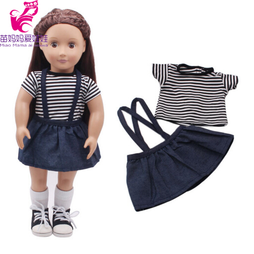 Blue shirt+ Jean short dress+black pants set for 43cm Zapf Baby Born dolls for 18 inch 45CM American girl doll outsuit rose christmas gift 18 inch american girl doll swim clothes dress also fit for 43cm baby born zapf dolls