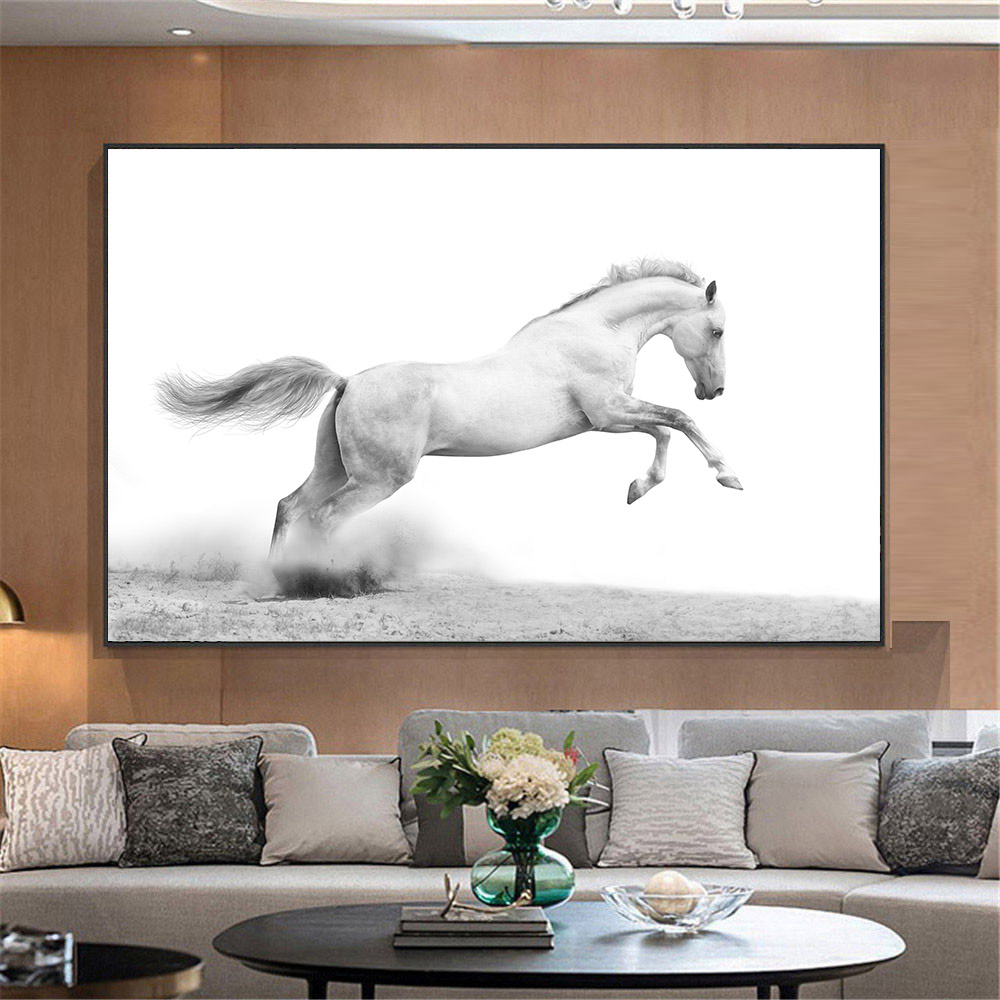 Black And White Paintings For Bedroom Bedroom Sets Black Modern Bedroom Black Bedroom Furniture Sets Pictures: Realist Animal Wall Painting Black And White Running Horse