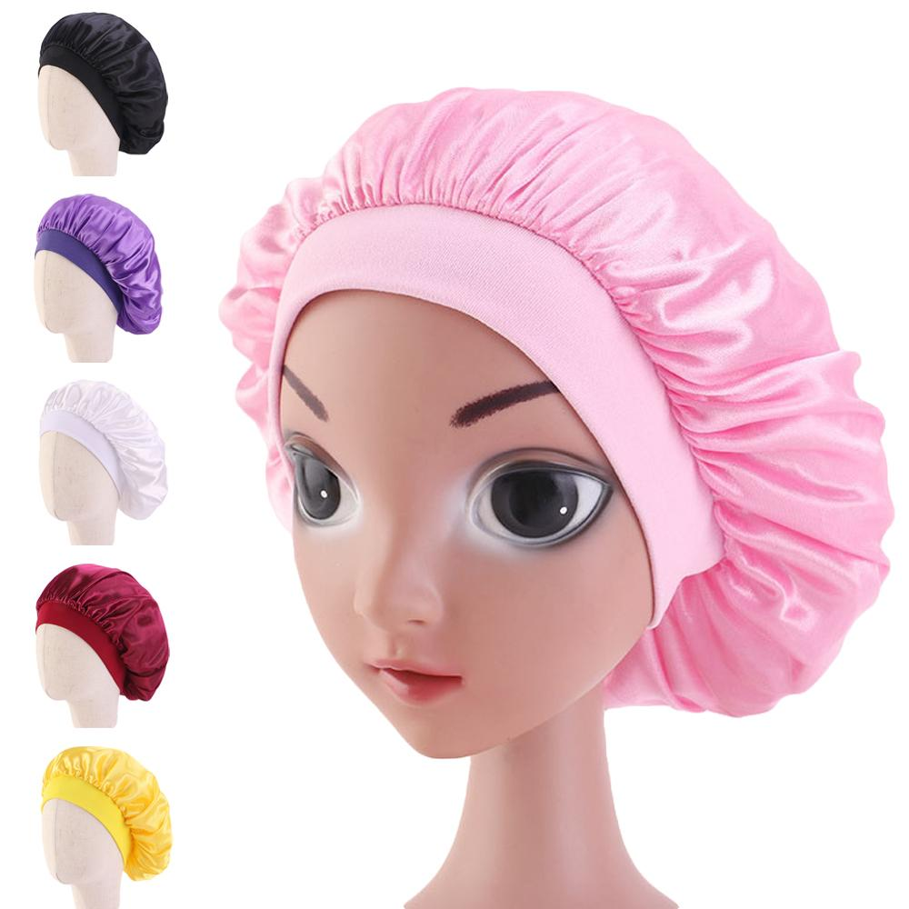 Kids Girl Satin Night Sleep Cap Hair Care Bonnet Hat Head Cover Wrap Solid Color Protect Wide Band Hats Beanies Skullies Fashion