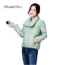 2016 Новый зимний короткий мягкий хлопок куртка женская мода тонкий с длинным рукавом отложным воротником ветровки женские пальто