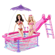 New Doll House Furniture Sport Swimming Pool Series Accessories Plastic Play Set Doll Sun Bath Beach Chair for Barbie Girl Gift new christmas birthday gift children bathtub dressing table play set doll furniture bathroom accessories for barbie kurhn