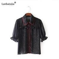 Lanbaiyijia 2018 Europe America Style Women Shirts Half Sleeve Peter Pan Collar Summer Shirt Ruffles Women