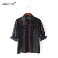 Lanbaiyijia 2018 Europa América estilo mujeres camisas media manga Peter Pan collar camisa de verano Ruffles mujer blusa S M l