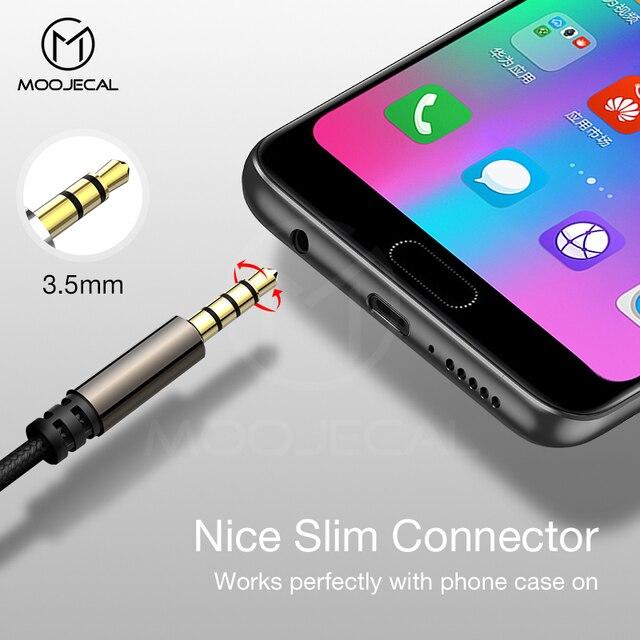 Cabo de extensão de fone de ouvido moojecal 3.5mm jack macho para fêmea aux cabo 3.5mm cabo extensor de áudio para o jogador de iphone do computador