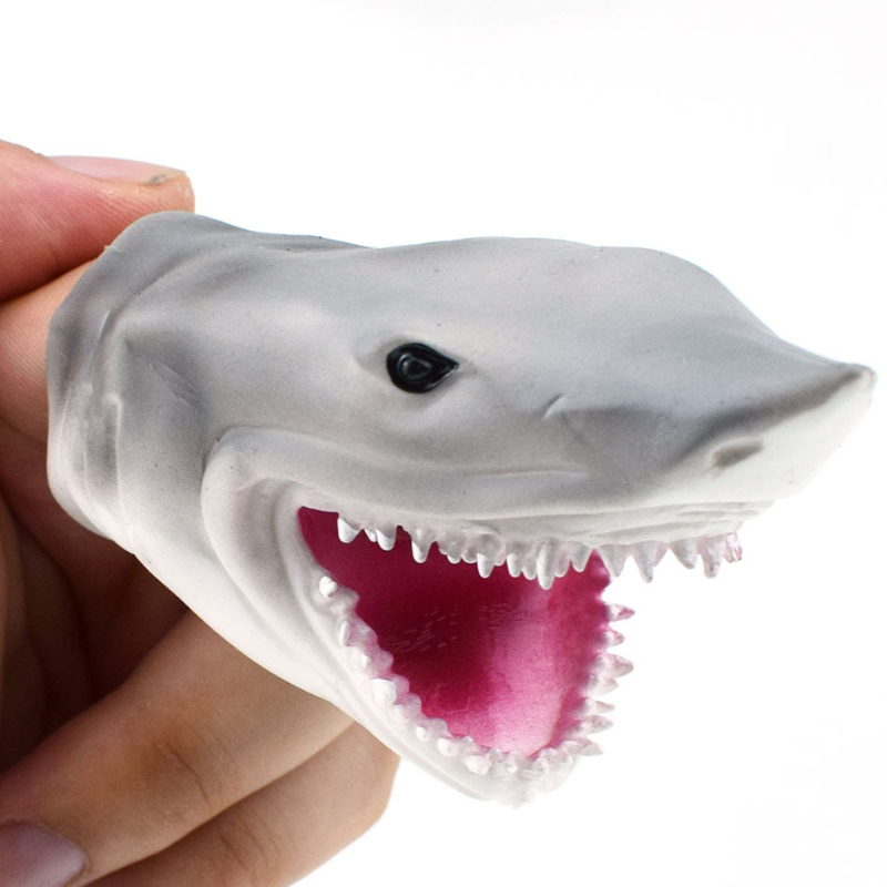 1 Pc Interest Mini Shark Hand Puppet Gloves TPR Animal Head Figure Vividly Kids Toy Model Gifts