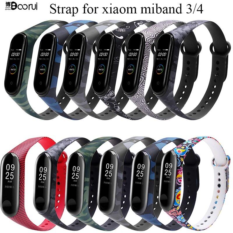 BOORUI Universal  Miband 3 4 Strap Pulsera Inteligente Wrist Strap For Xiaomi Mi3 Mi4 Smart Bracelets With Varied Flowers