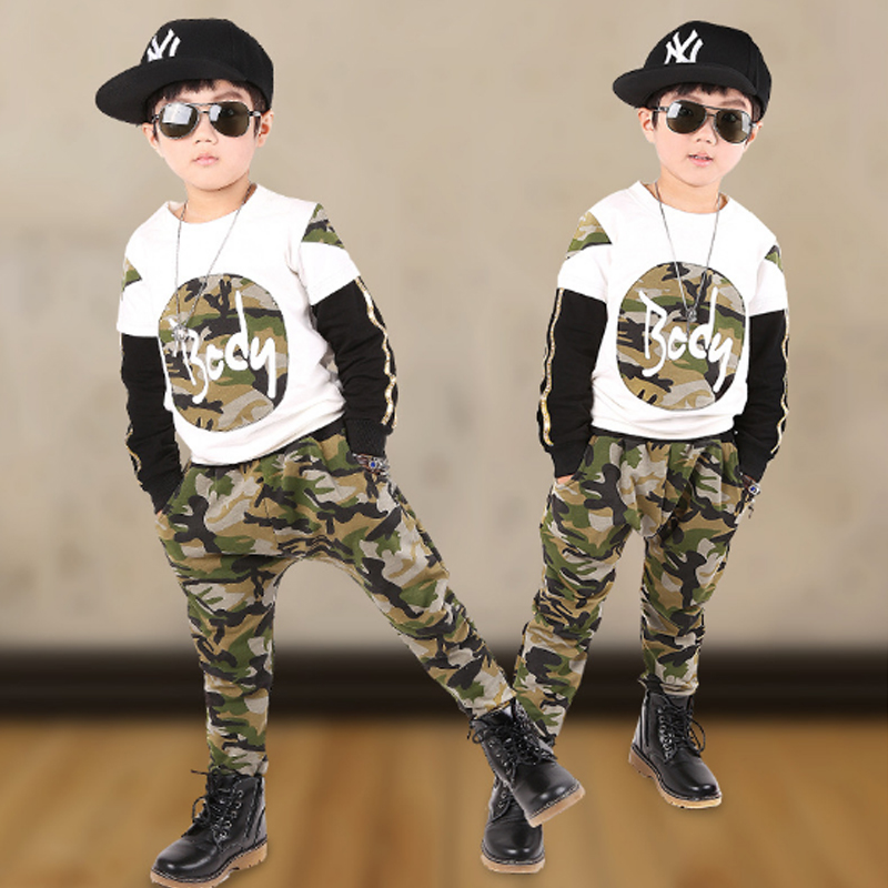 Boys Clothing Sets 2018 Fashion Autumn Cotton Camouflage Tops + Pants Kids Girl Suits Casual Style Tracksuit Children Set 3cs070 kids clothes boys set 2017 autumn winter boys clothing set printing long sleeve tops camouflage pant 2pcs tracksuit for girl