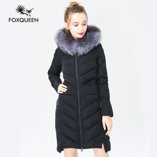 Foxqueen 2017 Warm Winter Fashion Women Thick Down Cotton Jacket Hooded Coat Parka With Silver Fox Fur Collar Free Shipping 601