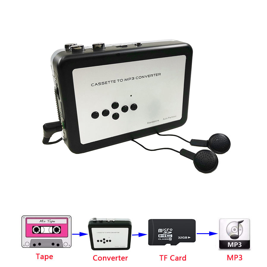 Cassette Player Portable, Standalone Cassette Tape To MP3 Converter , Walkman Tapes Recorder Via TF Card With Earphones