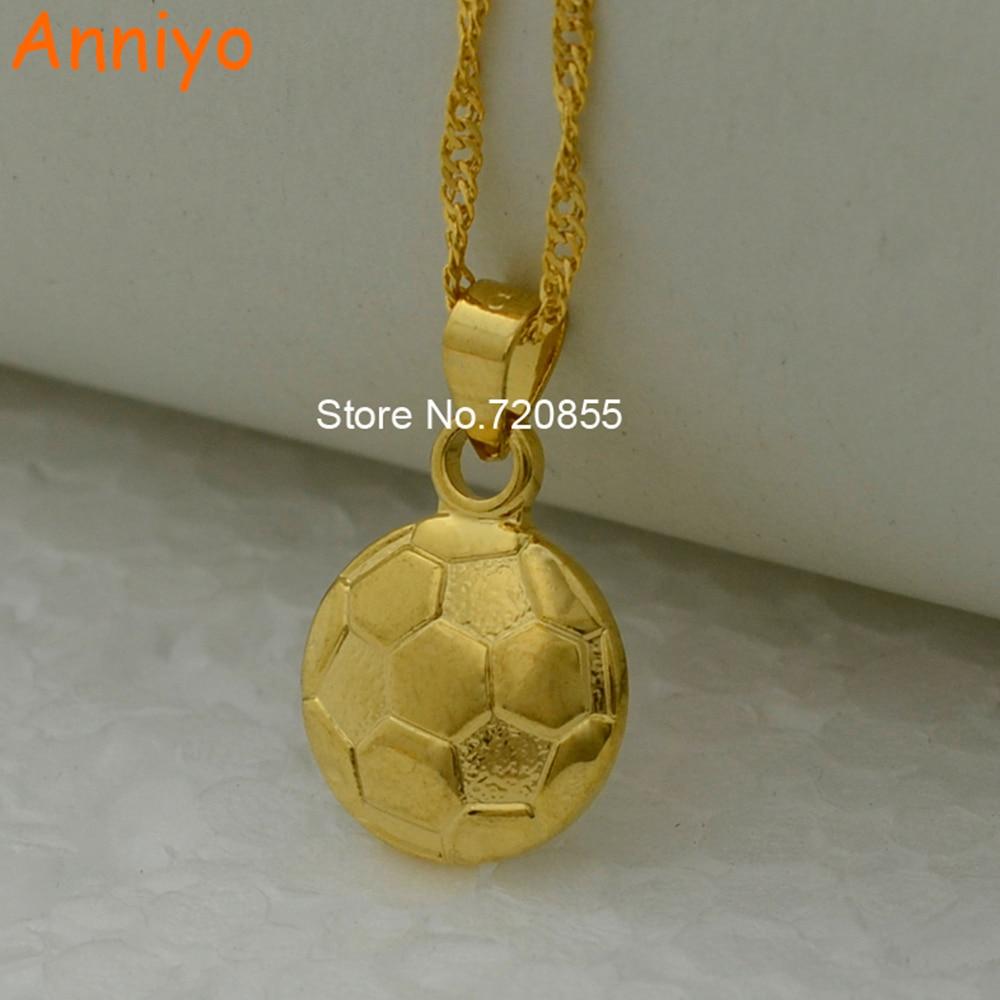 Anniyo Sporty Football Necklace Pendant Gold Color Soccer Jewelry Women Girl Futebol/El futbol jewellry #200910