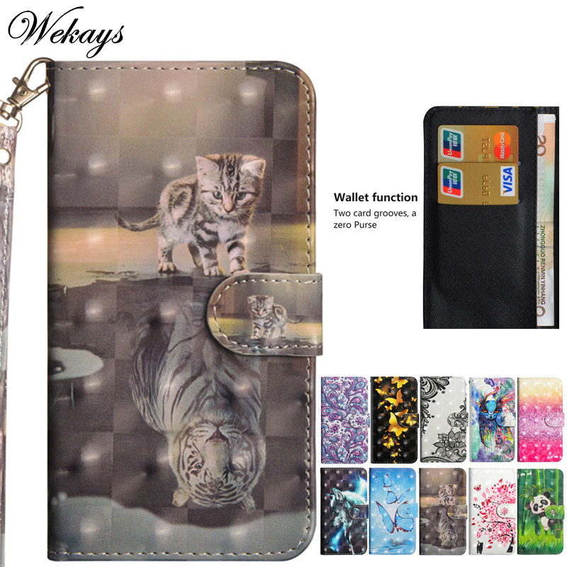 Wekays Cover For Huawei P Smart Cute Cartoon 3D Cat Leather Fundas Case For Huawei Enjoy 7S Cover Case For Huawei P Smart Coque