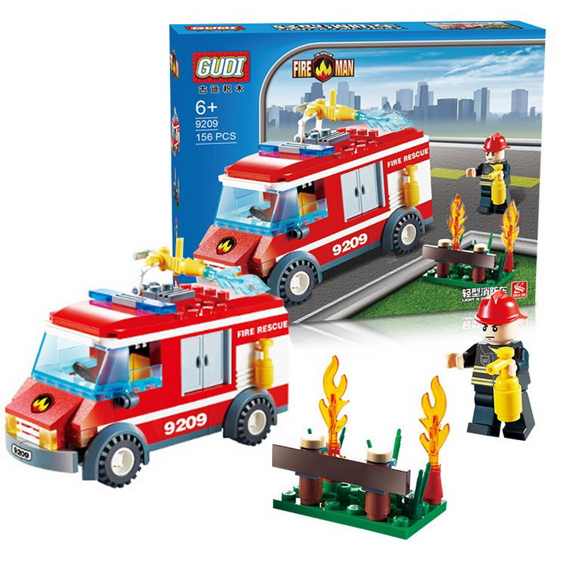 156Pcs GUDI 9209 City Fire Rescue Truck Figure Blocks Educational Compatible Legoe Building Bricks Toys For Children waz compatible legoe city lepin 2017 02022 1080pcs city 50th anniversary town figure building blocks bricks toys for children