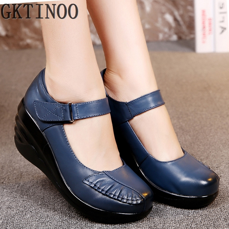 ФОТО Hot sale Female Genuine Leather Shoes Woman Platform Casual Shoes Lady Genuine Leather Wedges women's Mother