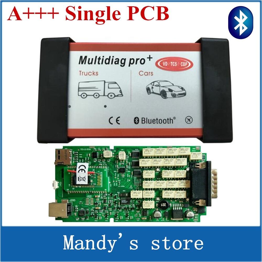 Prix pour A + Qualité Unique Vert PCB Multidiag Pro + avec Bluetooth Ne plus Voitures/Camions et OBD2 Scanner VD TCS cdp pro de diagnostic outil