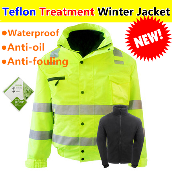 SFvest High visibility Reflective safety jacket winter waterproof bomber jacket with Teflon treatment free shipping striped trim fluffy panel bomber jacket