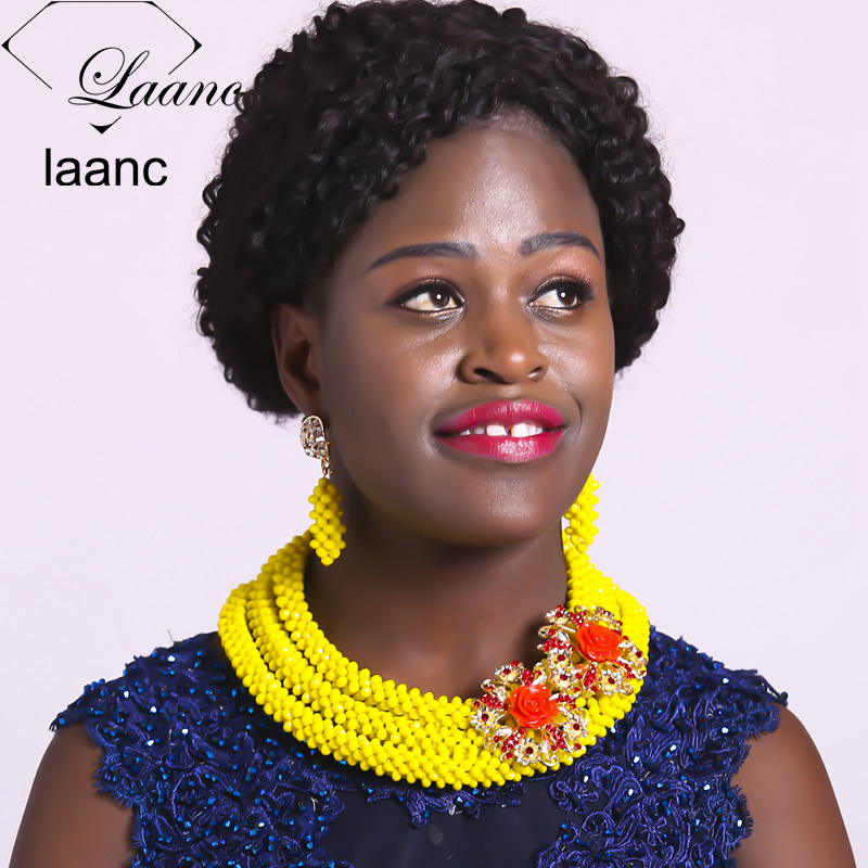 Laanc Big Crystal Bridal Wedding Party Opaque Yellow African Jewelry Set Women Nigerian Beads Necklace AL590Laanc Big Crystal Bridal Wedding Party Opaque Yellow African Jewelry Set Women Nigerian Beads Necklace AL590