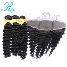 Riya Hair Deep Wave Bundles With Lace Frontal Closure Remy Human Hair 4 Pcs Deals Brazilian Hair Weave 3 Bundles With Closure