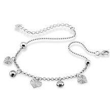 Мода стерлингового серебра 925 пробы сердце кулон браслеты. Контракту твердые 925 серебряные цепочки. Милые девушки колокол браслеты. Очаровательный леди jewelr
