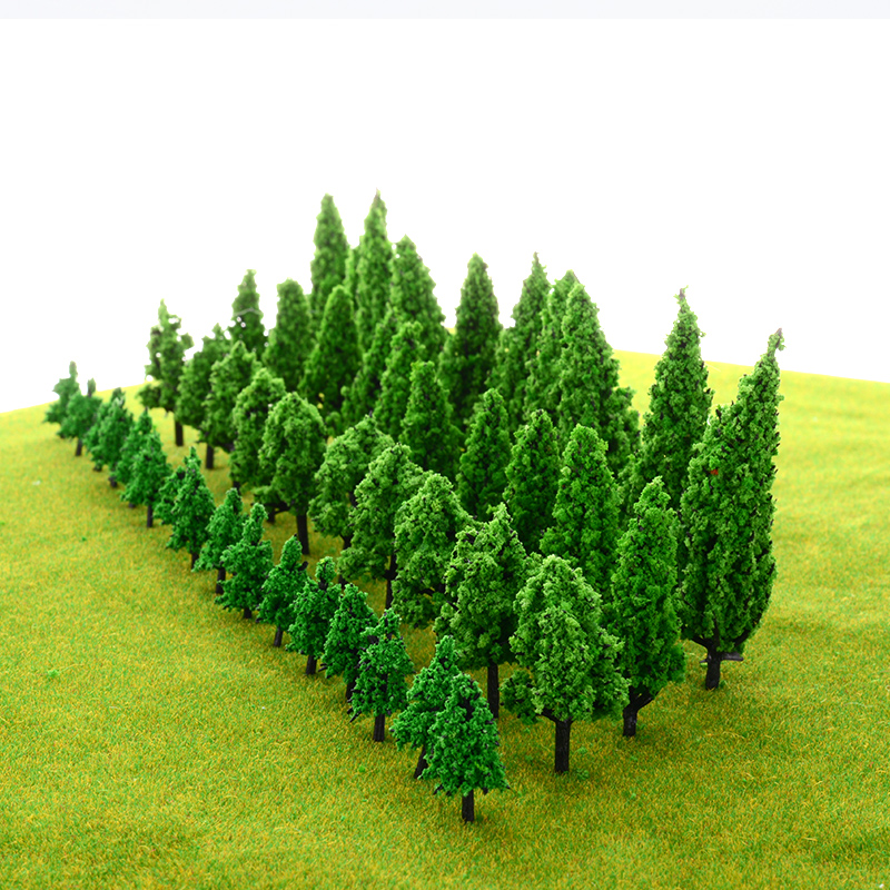 20-100 Pcs Artificial Plastic Model Tree For Green Landscape Scene Scenery   High Quality