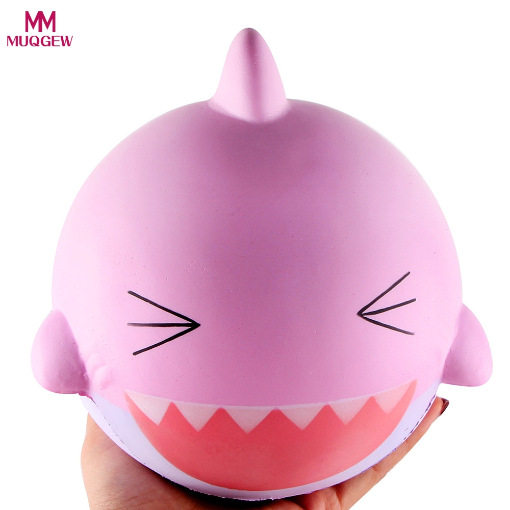 MUQGEW Novelty Gag Toy 15cm Pink Lovely Happy Shark Scented Squishy Slow Rising Squeeze Toys Collection Tricky Reliever toy ...
